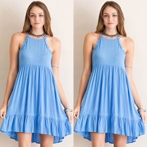 Dresses & Skirts - Halter Neck Dress- BLUE
