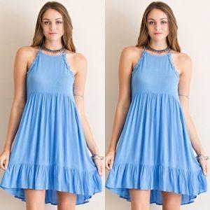 Halter Neck Dress- BLUE
