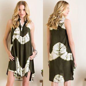 Dresses & Skirts - Tie Dye Shift Dress- OLIVE