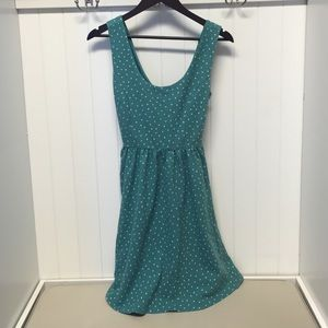Teal polka dot dress with criss cross back cutout