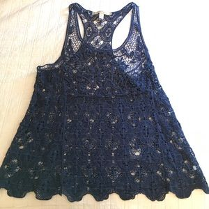 Navy Blue Knitted Tank