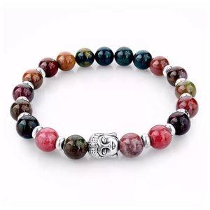 Custom Jewelry - DF4 Natural Lava StoneMulti Color Buddha Bracelet