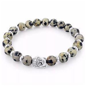 Custom Jewelry - DF4 Natural Lava Stone Gray Brown Buddha Bracelet