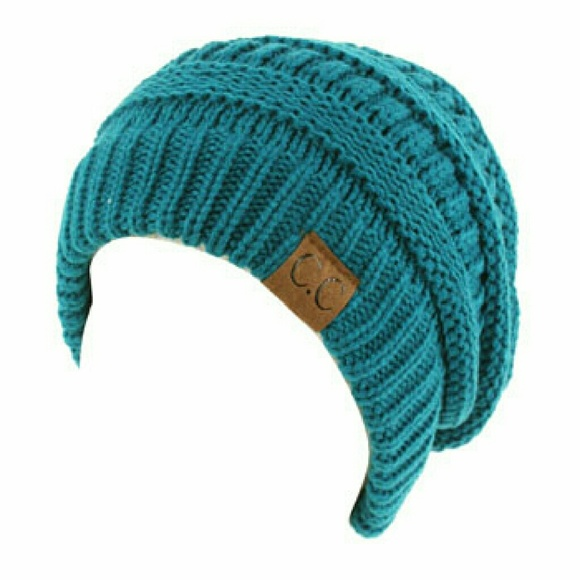d29aeac1566 NWT Ribbed CC slouch beanie knit hat Teal
