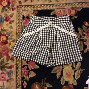 White and black checkered shorts