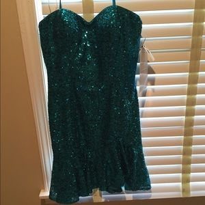 Aidan Mattox Turquoise sequin dress