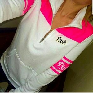 Vs pink  half zip sweater anorak on shoulders