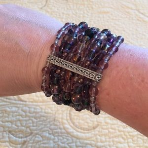 Hand Picked Jewelry - Purple and multi colored beaded bracelet