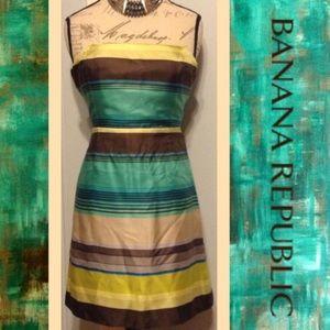 BANANA REPUBLIC Strapless Striped Satin Mini Dress