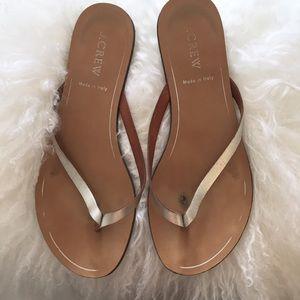 J. Crew rio silver metallic sandals