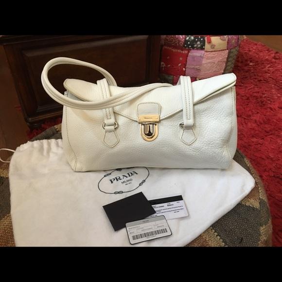 a487e1ed522b Authentic Prada Vitello Daino Bianco Handbag