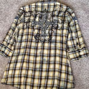 Roar Tops - ROAR 3/4 sleeve plaid top, size medium.