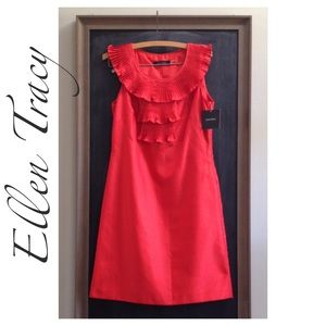 Ellen Tracy Dresses & Skirts - Ellen Tracy Pleated Shantung Sheath Dress