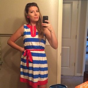 Peach Love Striped Red White Blue Dress
