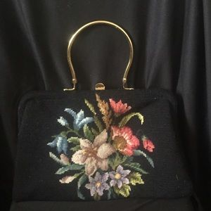 Handbags - Vintage Handbag Floral Design and Gold Tone Clasp
