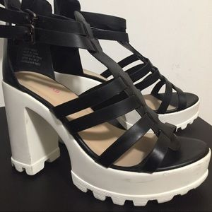 Party platforms! Black and white super high heels!
