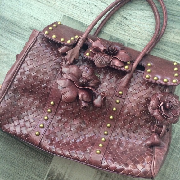 Handbags - Woven wine colored floral handbag