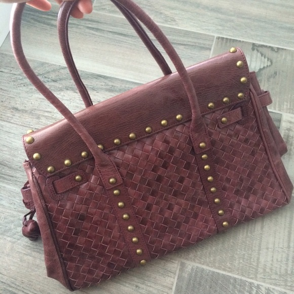 Bags - Woven wine colored floral handbag