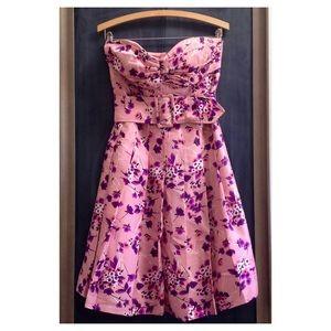 Express Dresses & Skirts - Express Strapless Silk Floral Pleated Dress