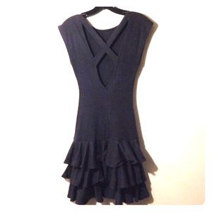 Vintage 90's Black Stretch Ruffle Mini Dress Sz M