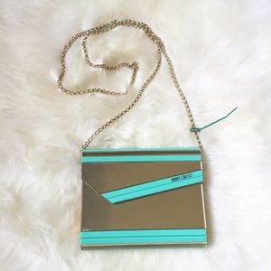 Jimmy Choo Handbags - 🎉HP🎉Jimmy Choo Gold Aqua Metallic Acrylic Purse