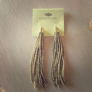 Long gold tassel earrings