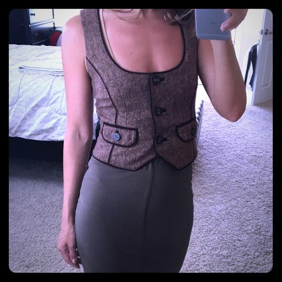 Vintage Bebe maroon / brown tweed wool vest NEW