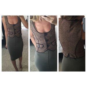 bebe Jackets & Coats - Maroon / brown tweed wool BEBE vest, size 0 NEW