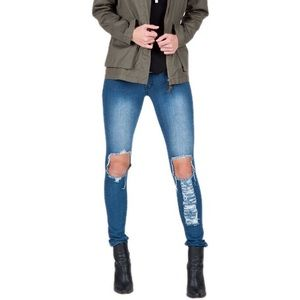 Distressed Knee Hole Denim