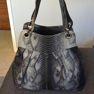 Prune Snake Embossed Leather Large Bag