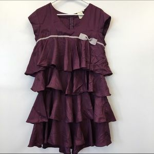 Shabby Apple Wine Ruffled Dress