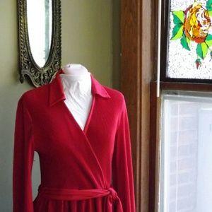 70's Hal Ferman Pleated Scarlet Dress