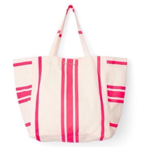 Victoria's Secret Bags - Victoria's Secret White Tote Bag with Pink Stripes