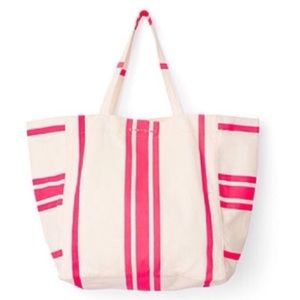 Victoria's Secret White Tote Bag with Pink Stripes