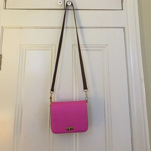 Pink and maroon cross body bag