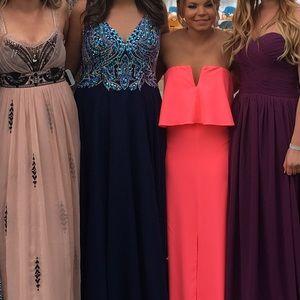 d59614ebdd Blush Dresses - NAVY Long classic v-neck Blush prom dress