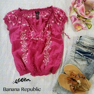 Banana Republic Boho Silk Blend Embroidered Top
