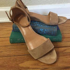 J. Crew Shoes - Cute nude low heel sandals! Suede!!