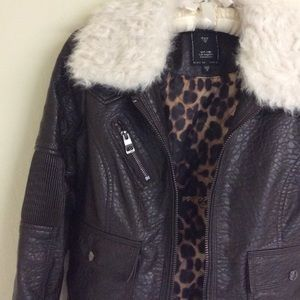 Guess Faux Leather Jacket with Fur Collar
