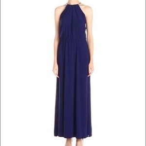 BLUE MAXI DRESS WITH GOLD HALTER