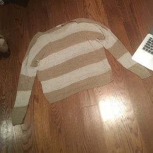 Blue Bird Tops - tan and white stripped sweater