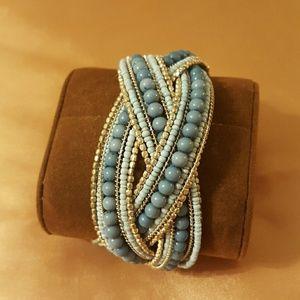 custom made  Jewelry - Bracelet silver and blue beads.
