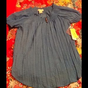 Kim Rogers Tops - Textured Blue Blouse