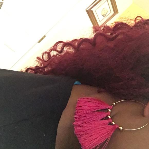 H&M Jewelry - Hoop Earrings with Pink Tassels