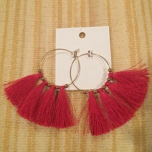 Hoop Earrings with Pink Tassels