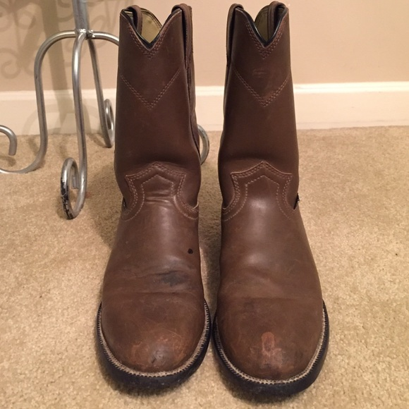 Justin Shoes Classic Roper Boots Size 6 12 B Brown