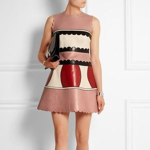 RED Valentino Dresses & Skirts - RED Valentino Leather Color-block Mini Mod Dress