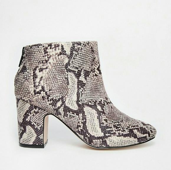 fbc5d5c79279 ASOS Shoes | Faux Snake Skin Chunky Block Heel Boho Boots | Poshmark