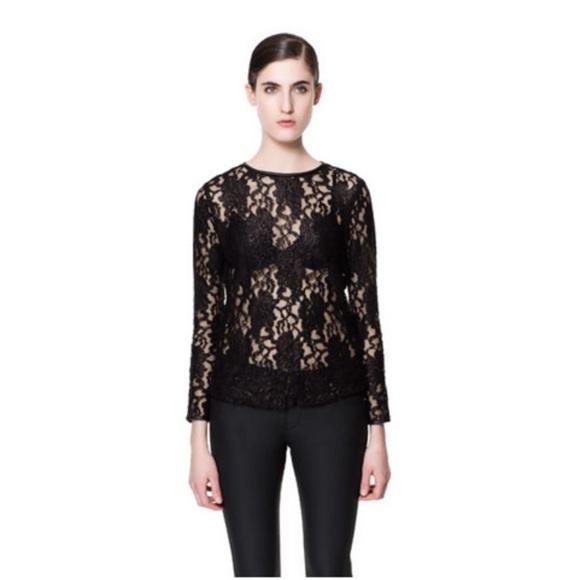 a75569605af Rare Zara black lace crew neck long sleeve top