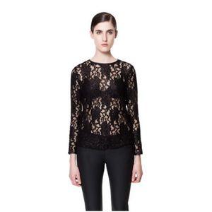 Rare Zara black lace crew neck long sleeve top